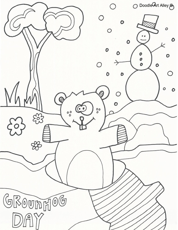 618x800 Groundhog Day Coloring Pages