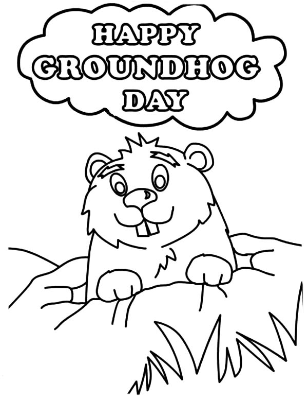 600x777 Groundhog Day Coloring Pages