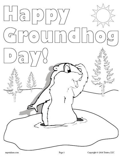 425x550 Free Printable Groundhog Day Coloring Page! Actividades