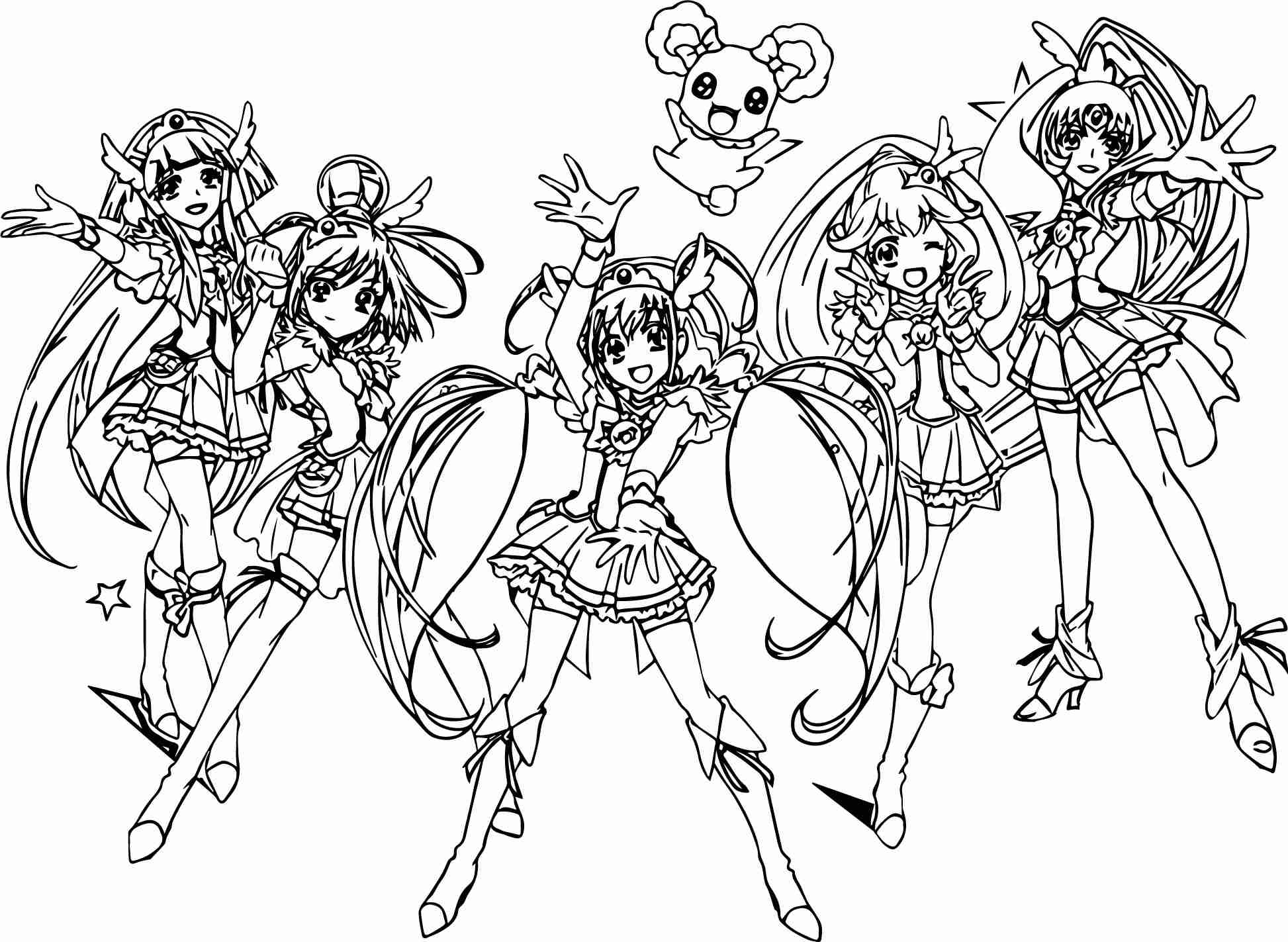 1946x1423 Glitter Force All Group Team Coloring Page Wecoloringpage