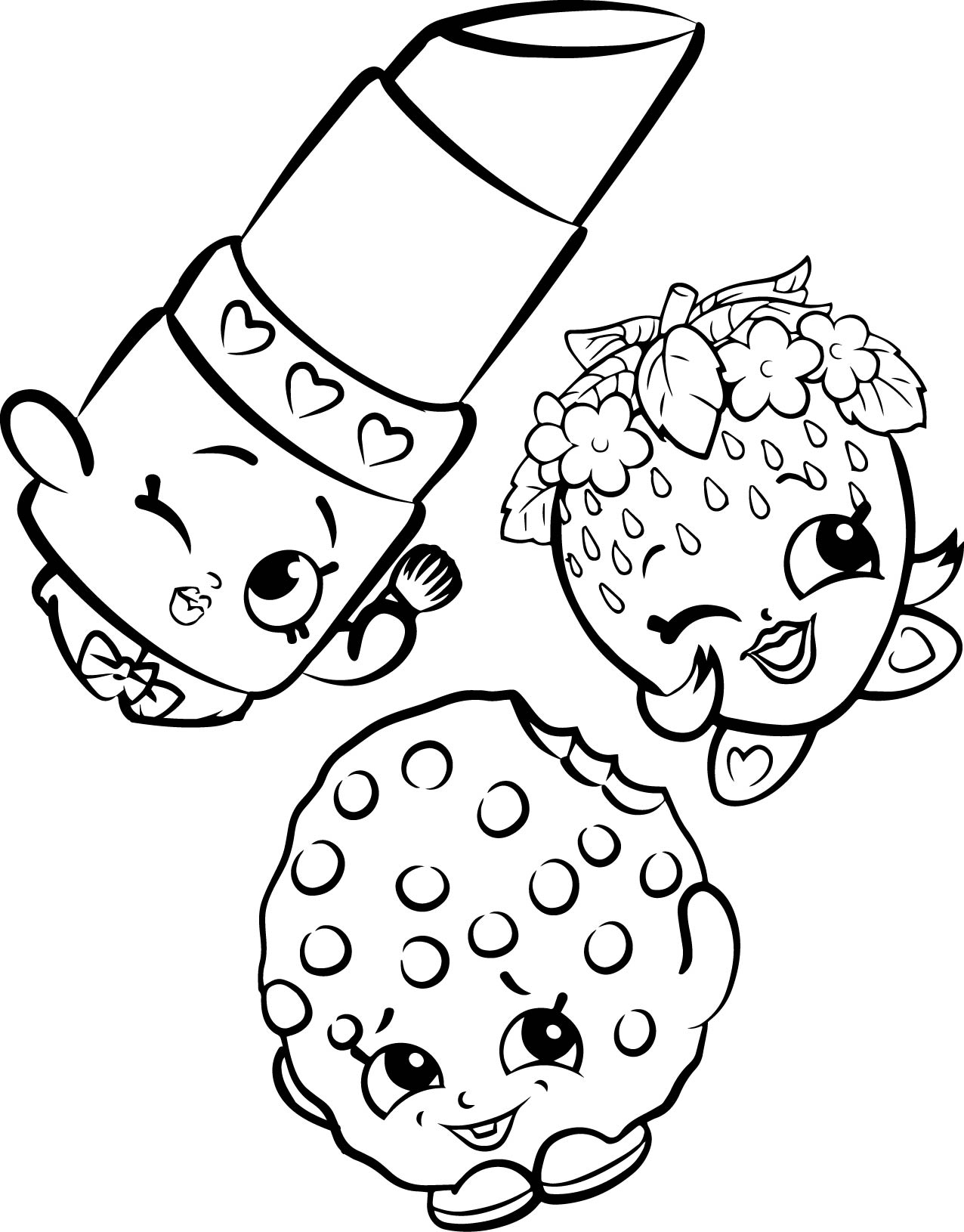 1276x1630 Shopkins Group Coloring Pages Free