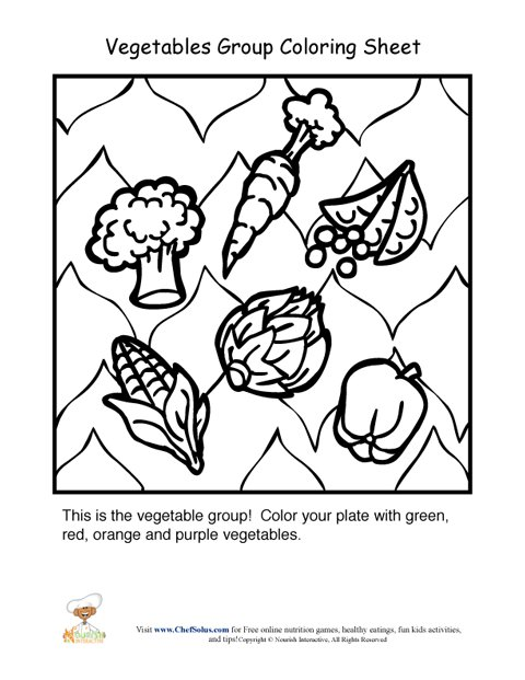 480x621 Vegetables Food Group Coloring Sheet