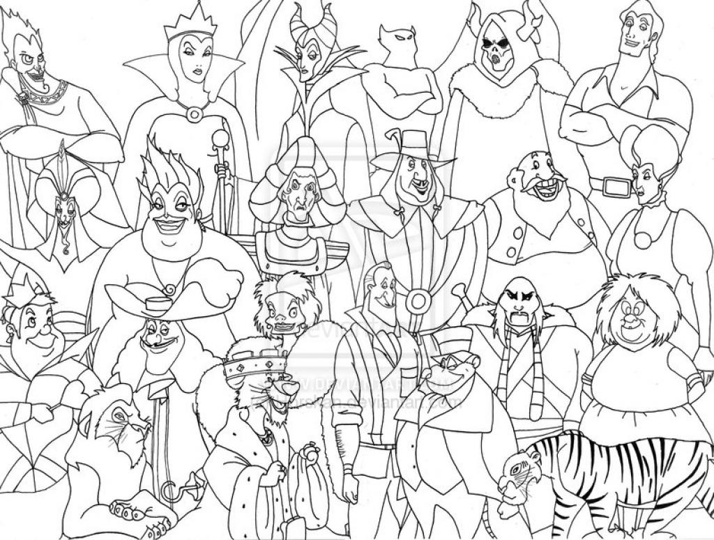 1024x775 Disney Villain Coloring Pages Villains Group Bourseauxkamas Com