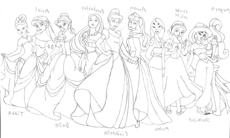 894x537 Printable Disney Princess Group Coloring Pages For Kids
