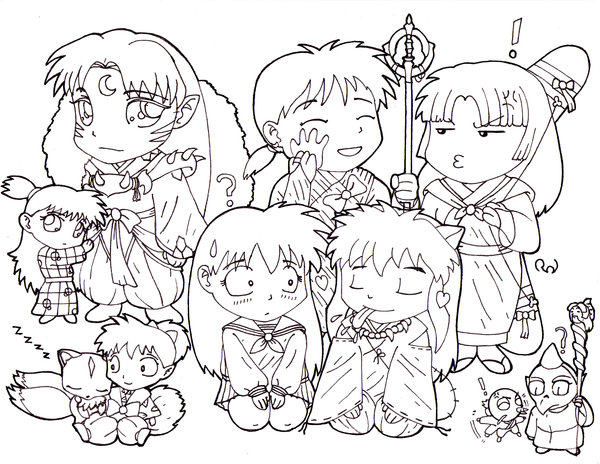 600x464 Chibi Inuyasha Group Coloring Page Lineart Digimon