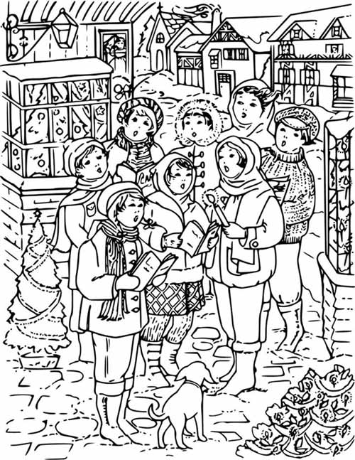 500x647 Christmas Carols Coloring Page For Kids