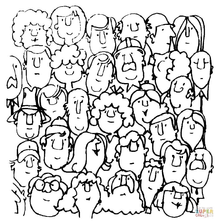 707x720 Group Of People Coloring Pages