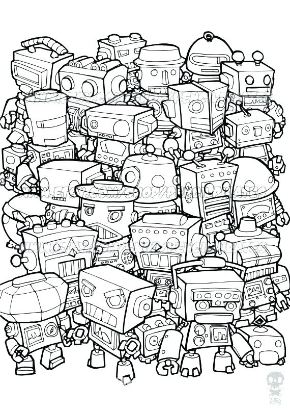 570x806 Free Coloring Pages Adult Coloring Pages For Grown Ups Retro Robot