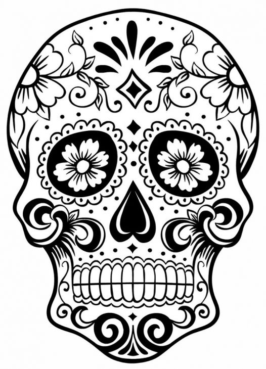 526x730 Adult Coloring Pages Sugar Skulls Coloring Pages For Grown Ups