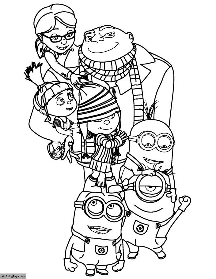 705x913 Despicable Me Gru, Daughters, And Minions Coloring Pages For Kids