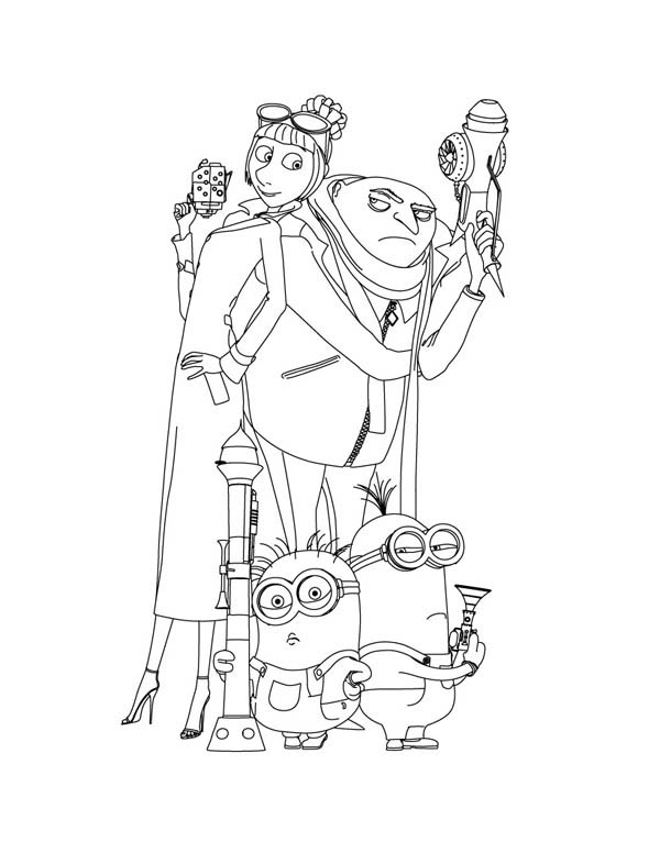 600x776 Gru And Agent Lucy Wilde And Minions In Despicable Me Coloring