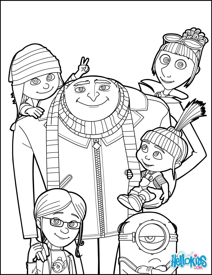 820x1060 Despicable Me, Gru And All The Family Coloring Page More