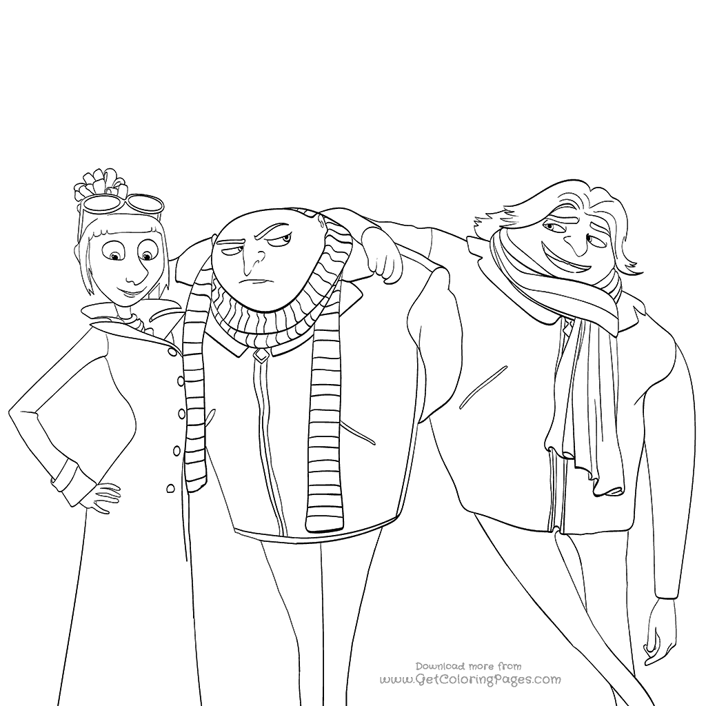 1024x1024 Despicable Me Movie Coloring Pages Lucy And Twins Gru And Dru