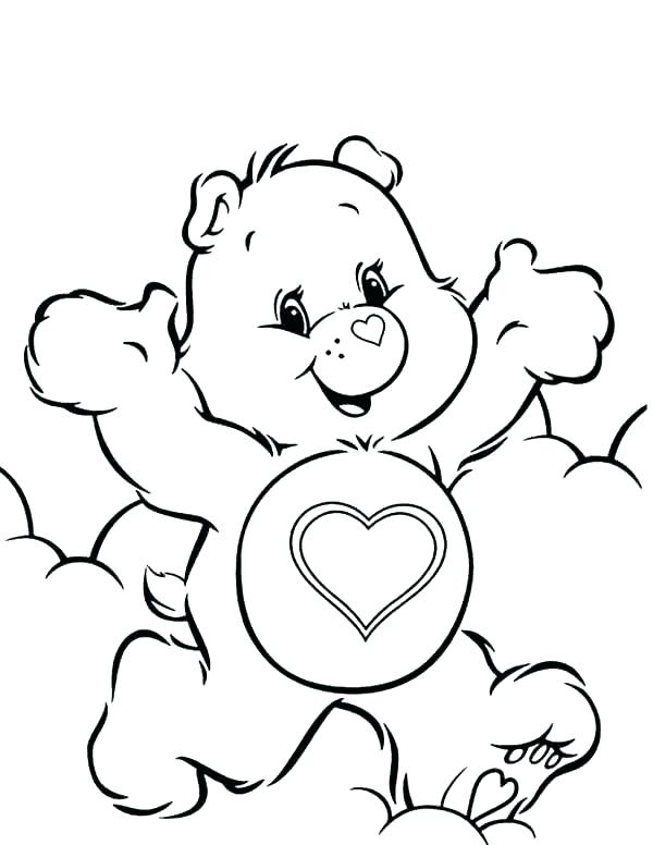 600x776 Care Bear Coloring Pages As Well As Care Bear Heart Care Bear