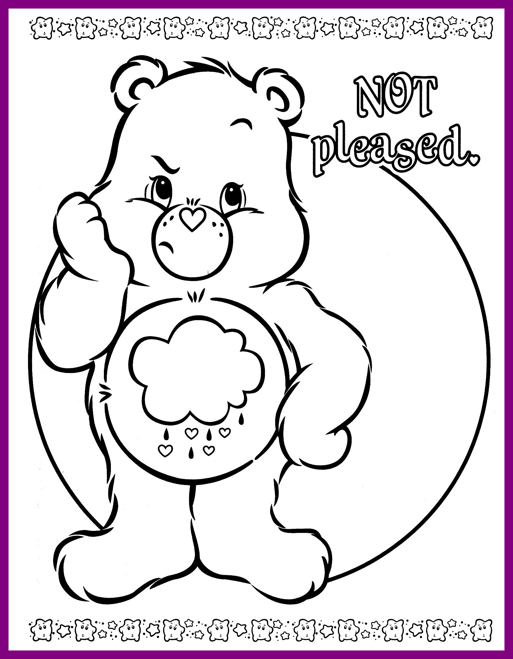 1758x2258 Awesome Care Bear Coloring Pages To And Print For Image Grumpy Cat