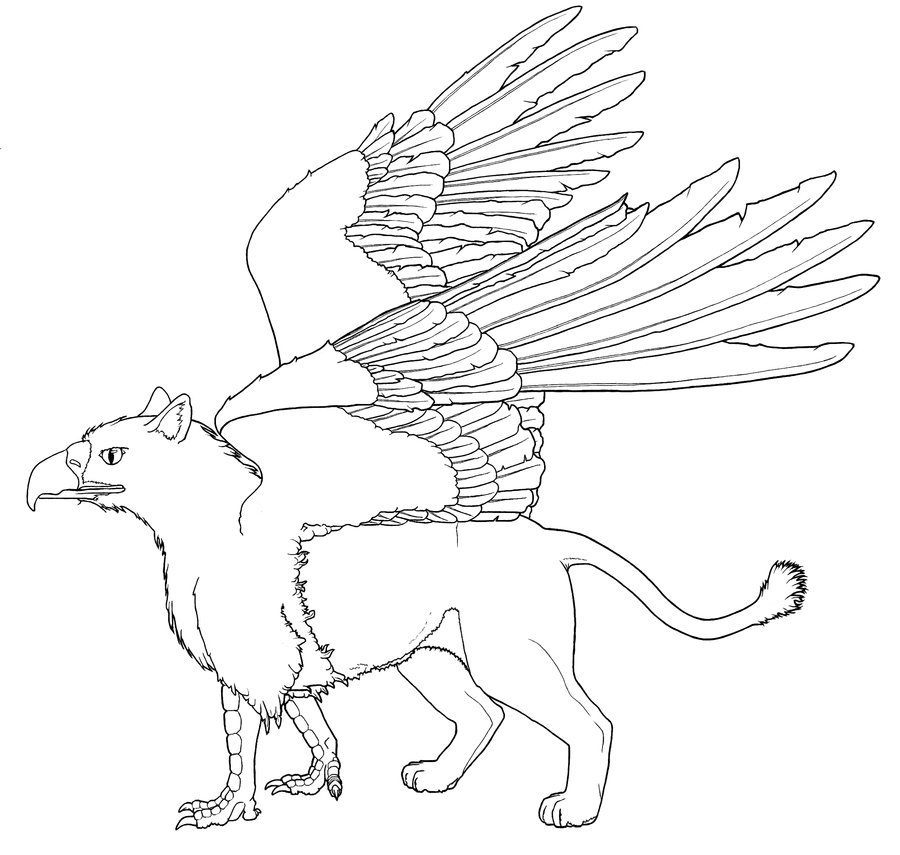 900x855 Fantastic Griffin Coloring Pages Ornament