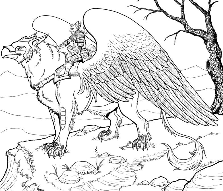 784x672 Gryphon Coloring Pages