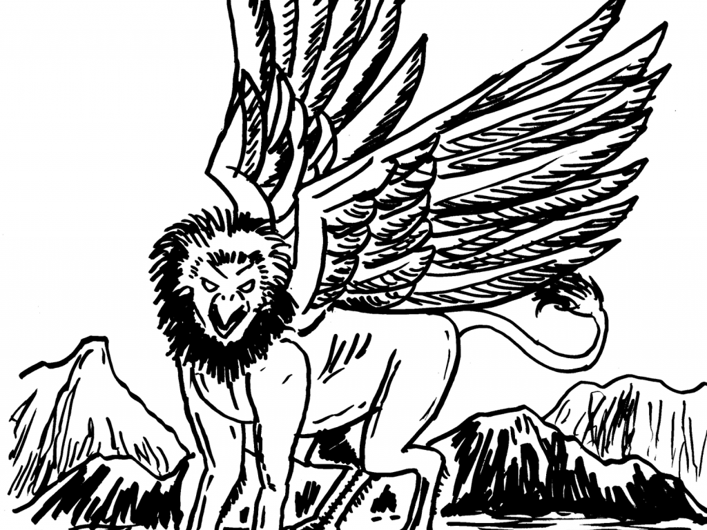 1024x768 Gryphon Coloring Pages Unusual Gryphoncoloringpage For Adults