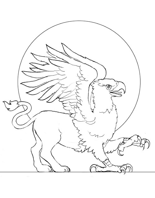 500x640 Modern Griffin Coloring Pages Model