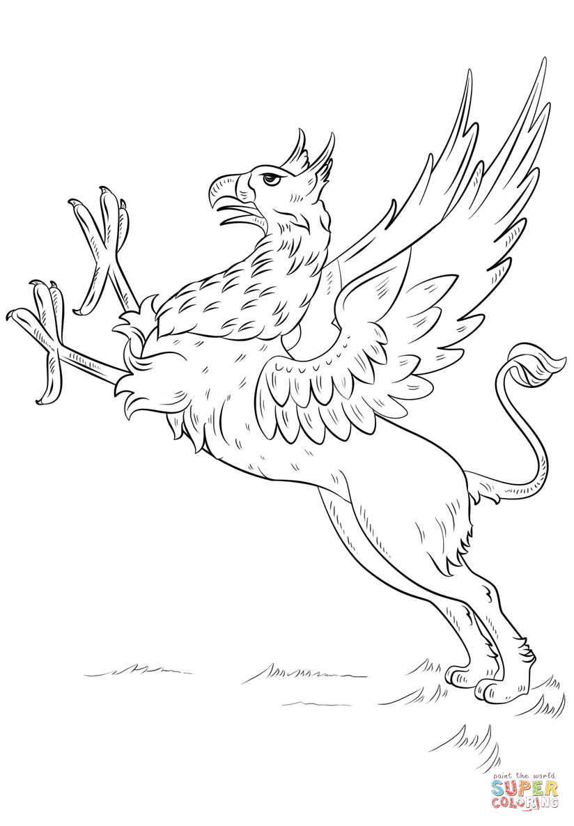824x1186 Unusual Gryphon Coloring Pages Griffin Page For Adults Free