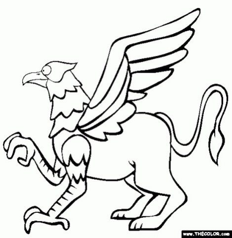 470x481 Gryphon Coloring Page Free Gryphon Online Coloring