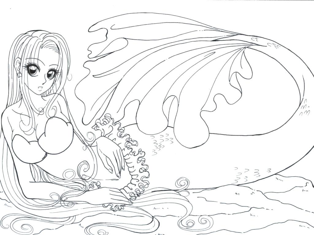 1024x768 Coloring Pages Christmas Realistic Mermaid Download And Print
