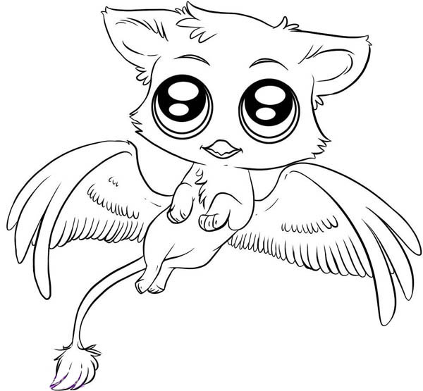 600x555 Cute Gryphon Chibi Drawing Coloring Page