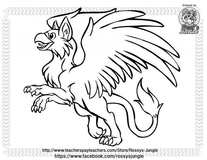 728x563 Cute Gryphon Chibi Drawing Coloring Page Pages For Adults Flowers