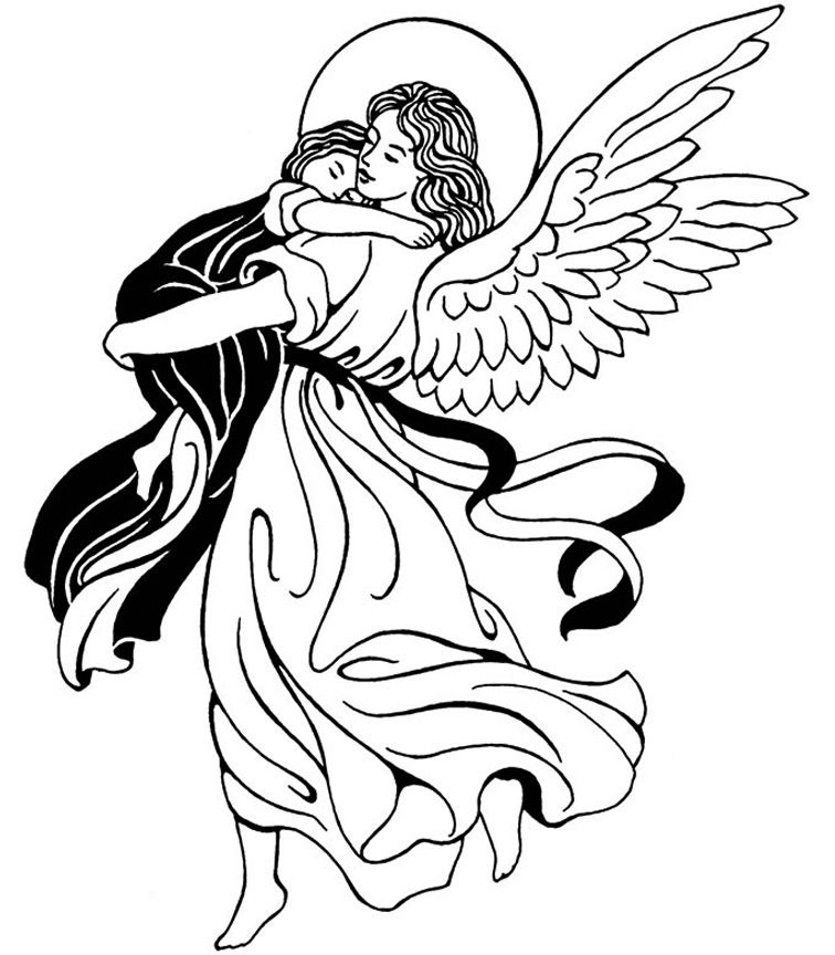 756x864 Guardian Angel Catholic Coloring Page Feast Of The Guardian