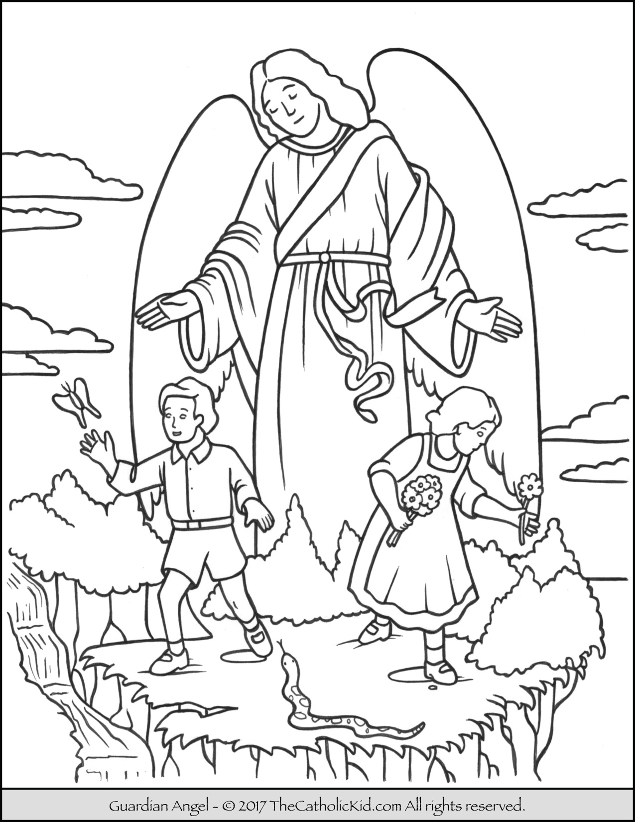 1275x1650 Guardian Angel Coloring Page