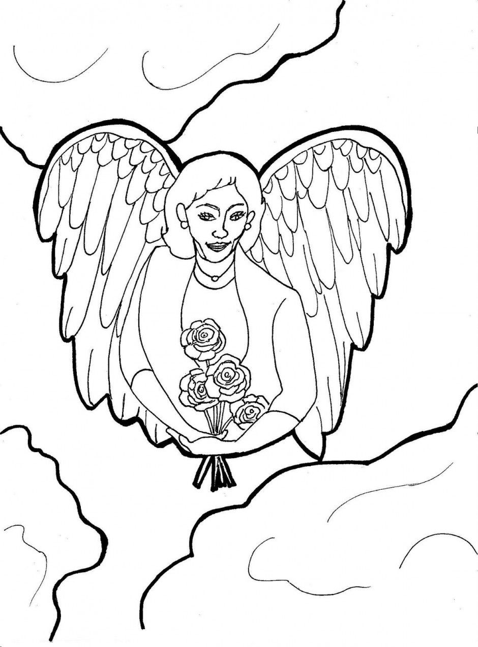 940x1271 Appealing Guardian Angel Coloring Pages Clip Art Pic For Cat Trend