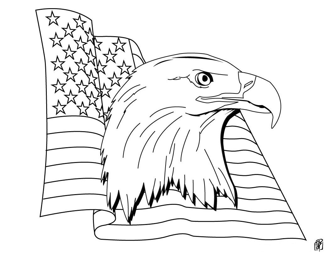 1060x820 American Flag Coloring Picture