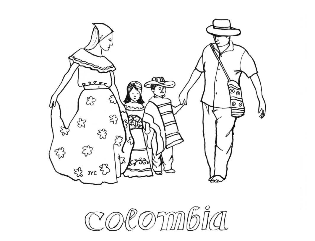1066x816 Colombian Flag Coloring Page