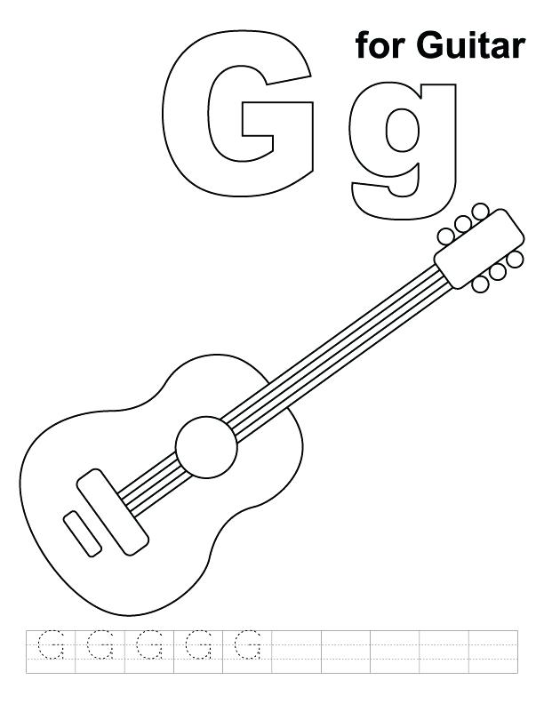 612x792 G For Guitar Coloring Page With Handwriting Practice On Free