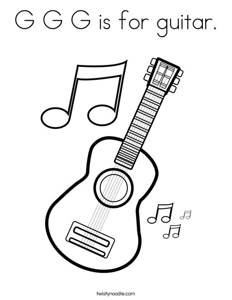 468x605 G G G Is For Guitar Coloring Page