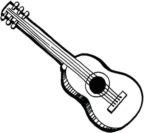 600x557 Guitar Coloring Pages Acoustic Free For Kids In Plan