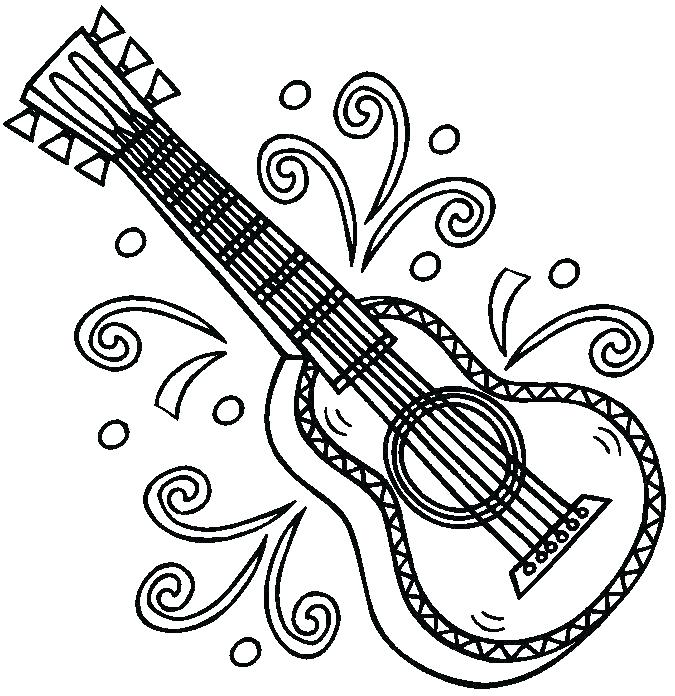 675x696 Guitar Coloring Pages Guitar With Flames Coloring Pages Bass