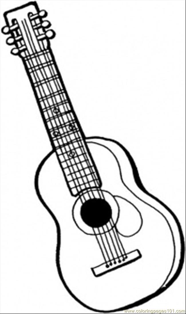 650x1099 String Guitar Coloring Page