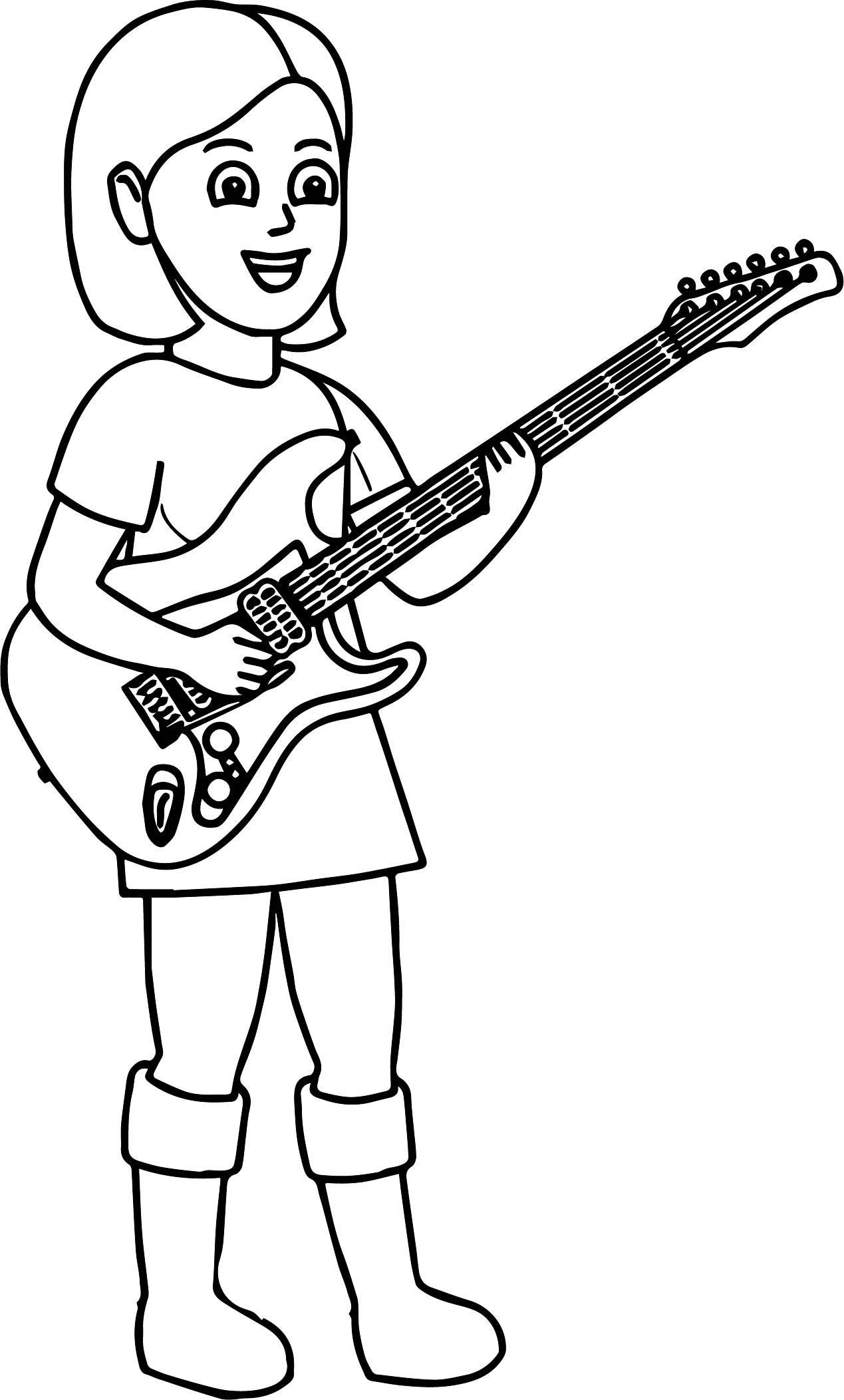 1269x2104 Kids Playing Music Girl Playing The Guitar Coloring Page