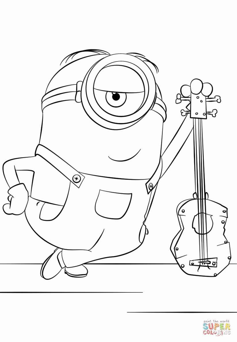 824x1186 Printable Coloring Books For Kids Lovely Minion Stuart With Guitar