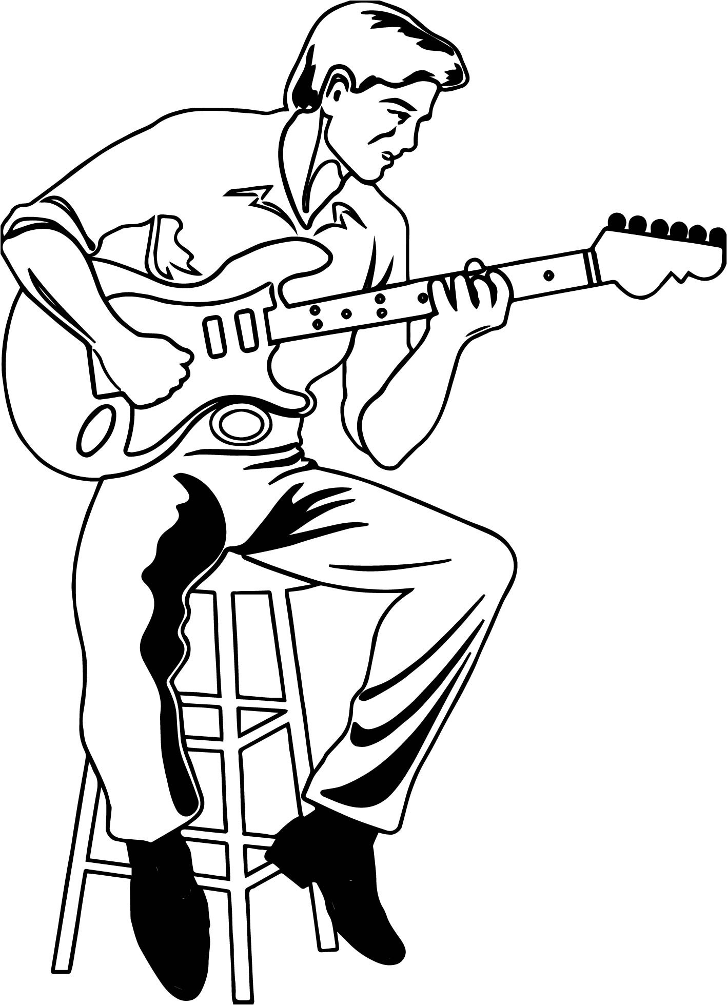 1417x1959 Profitable Guitar Player Coloring Page Color