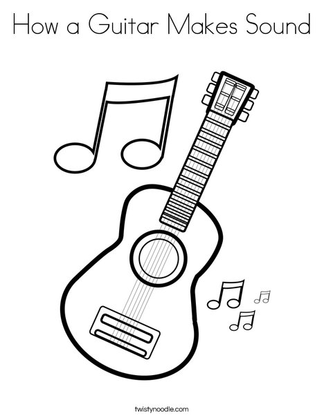 468x605 How A Guitar Makes Sound Coloring Page