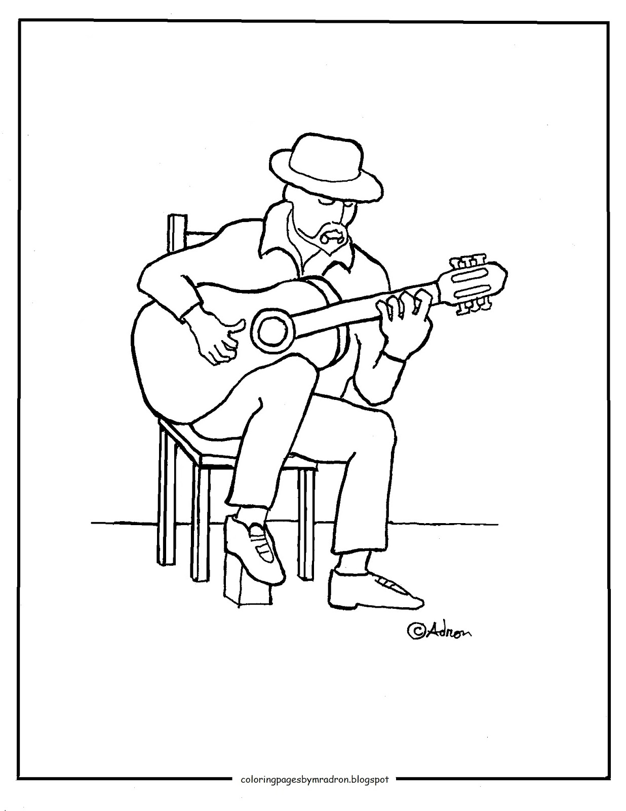 1236x1600 Liberal Guitar Player Coloring Page Pages For Kids