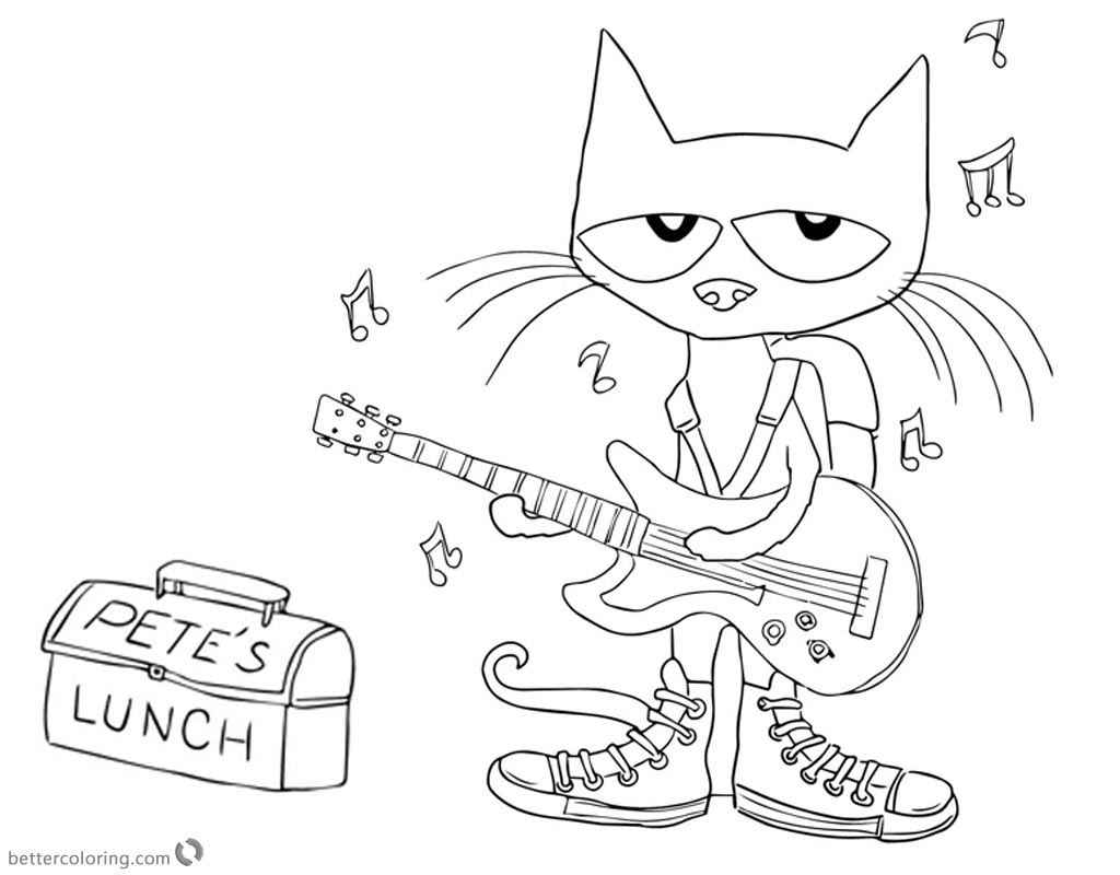1024x800 Pete The Cat Coloring Pages Play Guitar For Lunch