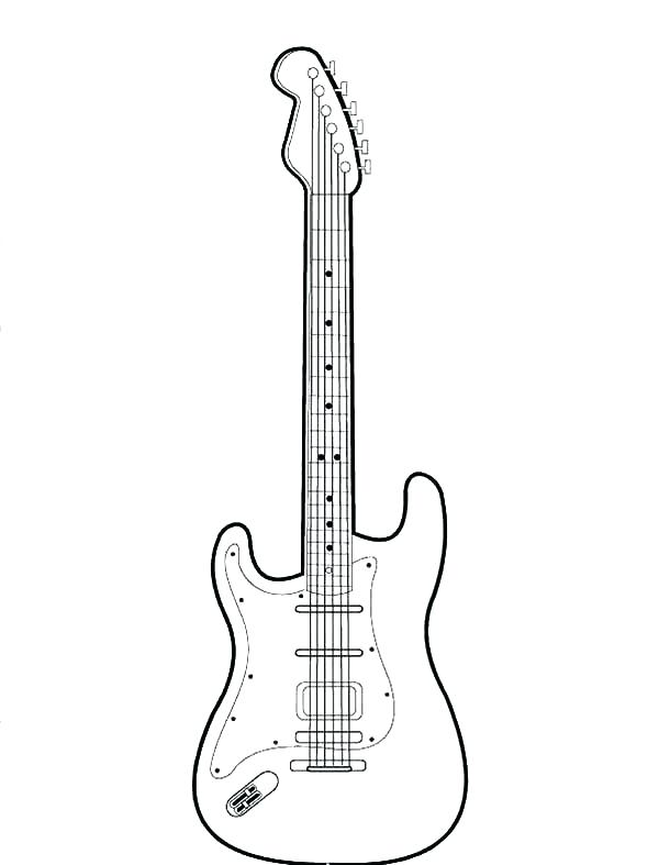 600x787 Electric Guitar Coloring Page Bass Guitar Coloring Pages Electric