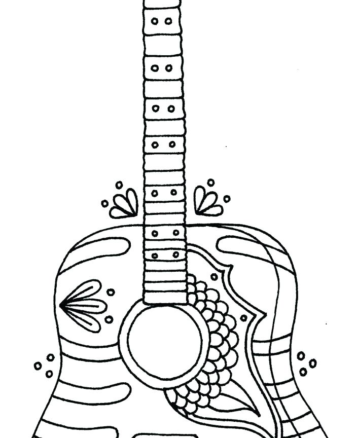 702x864 Electric Guitar Coloring Page Guitar Coloring Sheets Classical