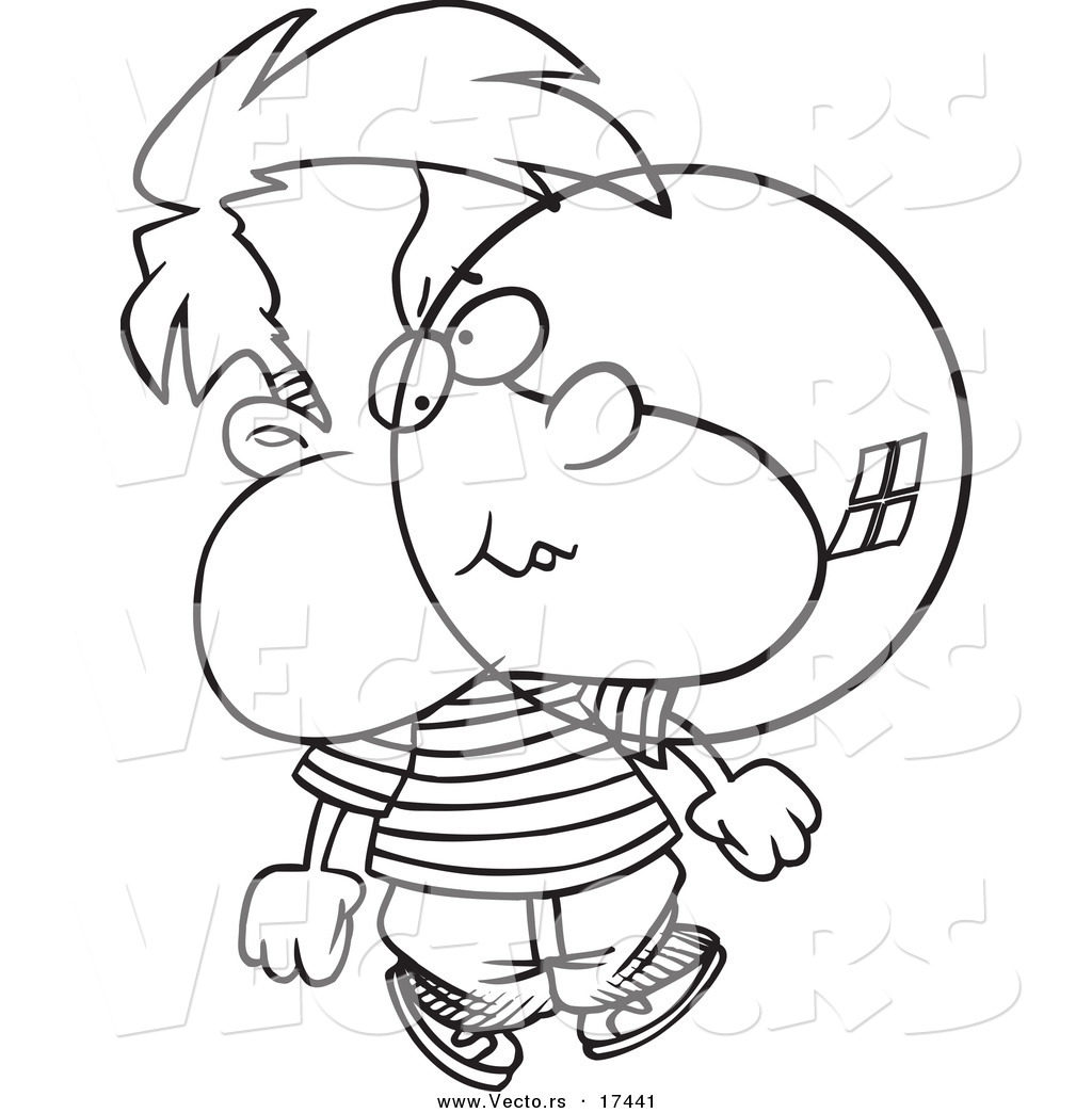 1024x1044 Vector Of A Cartoon Boy Blowing Bubble Gum Coloring Page Outline