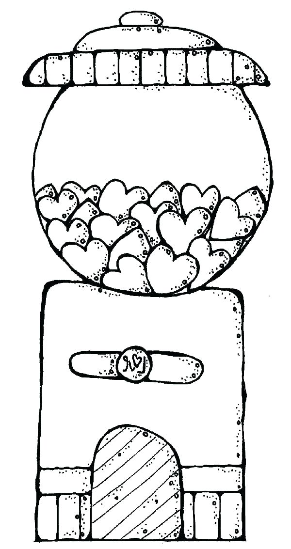 600x1133 Bubble Gum Machine Coloring Page Bubblegum Coloring Pages