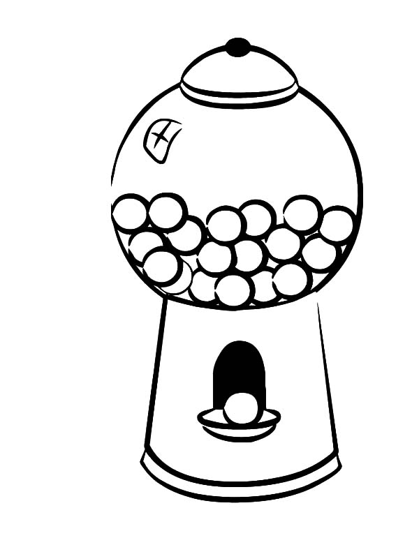 600x771 Gumball Machine Coloring Page Portrait
