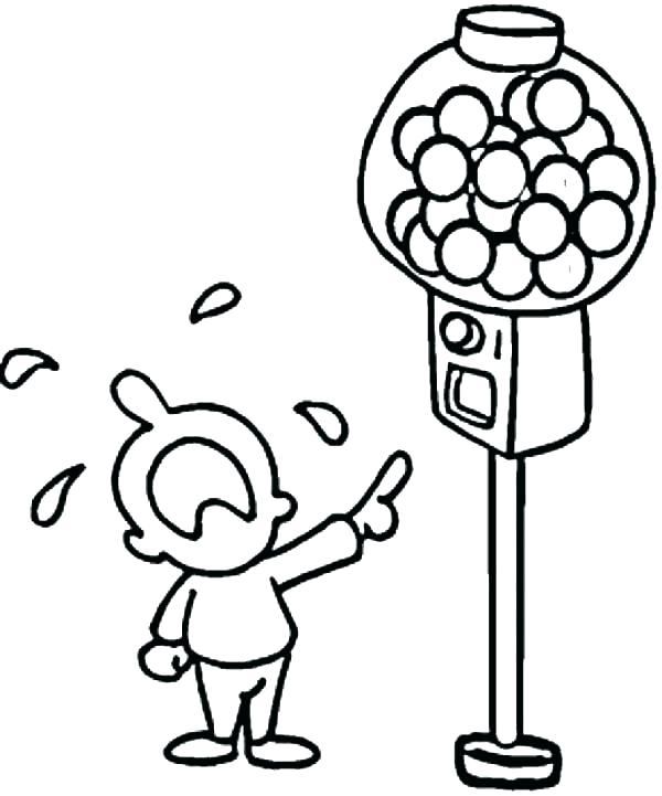 600x721 Empty Gumball Machine Coloring Page Beach Umbrella Pages Bubble